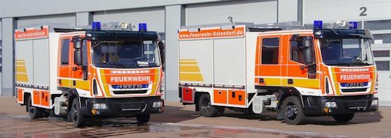 Mittleres Löschfahrzeug: Zwei MLF fertigte EMpl für die Feuerwehr Ostendorf und Feuerwehr Waltershofen der Feuerwehr Markt Meitingen (BY). Als Fahrgestell dienen Iveco Magirus EuroCargo 80 E 18. Foto: Empl