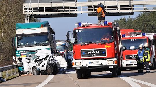 Unfall auf der A 27 bei Walsrode. Foto: Polizei