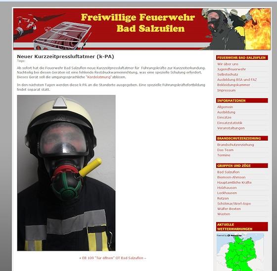 """Aprilscherz: In Bad Salzuflen setzt die Feuerwehr auf """"Kurzzeitpressluftatmer""""."""