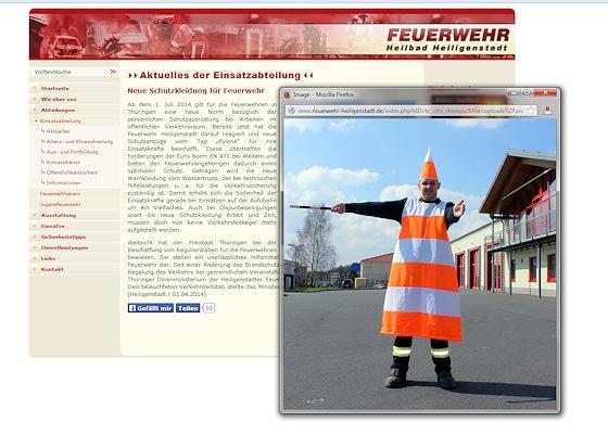 Im Heilbad Heiligenstadt sichert die Feuerwehr als menschliche Pylonen.