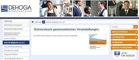 """Screenshot von der Website des DEHOGA Niedersachsen: Das Schwarzbuch war am Mittwoch zeitweilig nicht verfügbar: """"Zur Zeit in Bearbeitung. Wird in Kürze wieder eingestellt."""""""