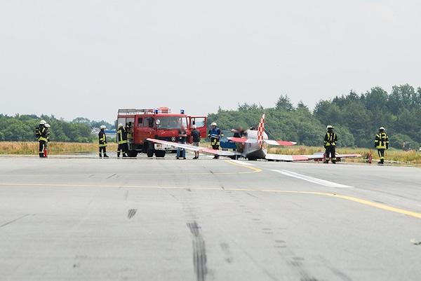 Notlandung bei Flugtag in Flensburg. Foto: Noltemedia