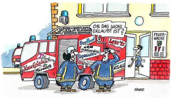 Werbung auf Feuerwehrfahrzeug. Cartoon: Raabe