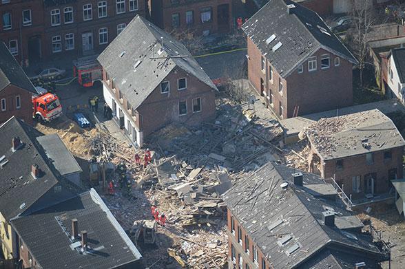 Einsturz nach Explosion Itzehoe. Foto: Citynews TV