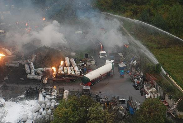 Explosion Gastank Harthausen. Foto: Polizei
