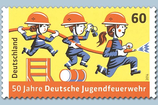 Briefmarke: 50 Jahre Deutsche Jugendfeuerwehr. Foto: Deutsche Post AG