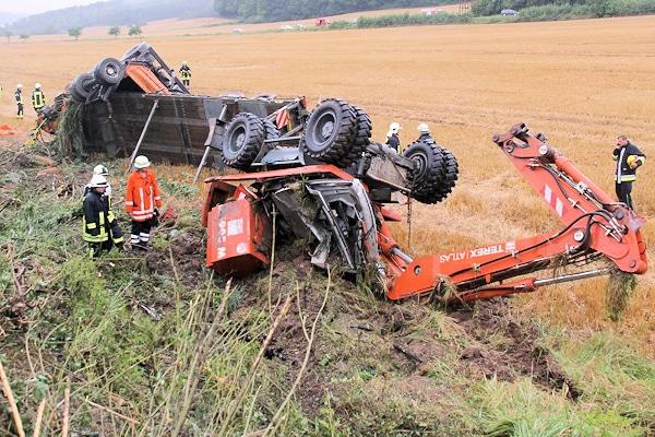 Tödlicher Lkw-Unfall auf der A 7 im Kreis Göttingen. Foto: Stefan Rampfel