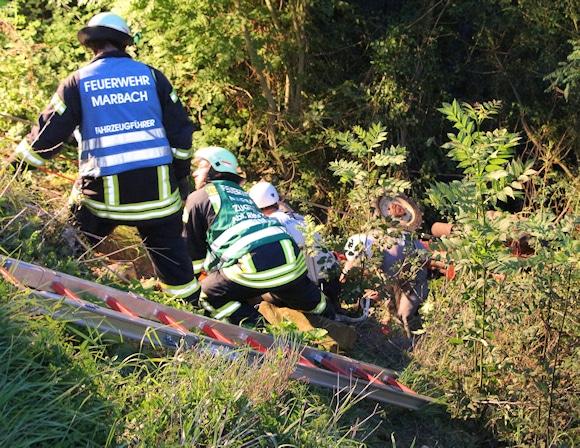 Tödlicher Traktorunfall im Weinberg bei Marbach. Foto: Friebe PR