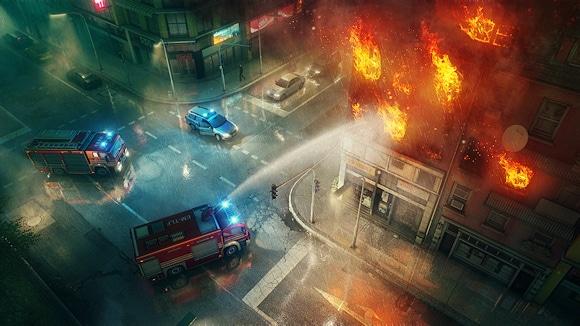 Die Feuerwehr bekämpft einen nächtlichen Gebäudebrand im Regen. Foto: Sixteen Tons