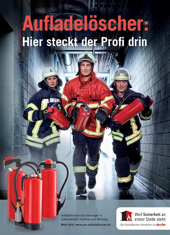 Werbemotiv für die Kampagne für Aufladelöscher des bvfa,