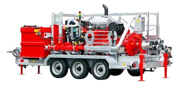Der größere Pumpentyp mit einer Hochdruckpumpe BA-C150H41, angetrieben von einem Volvo-Penta-Motor, Typ TAD952VE, mit einer Leistung von 234 kW/318 PS und einem Druck von 20 bar fördert ebenfalls 130 m3/h (2.166 l/min). Foto: BBA Pumps