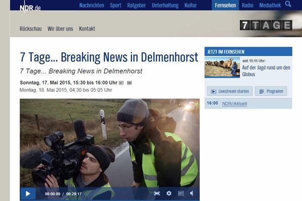 "Szene aus der Doku ""7 Tage... Breaking News in Delmenhorst"". Screenshot: NDR Mediathek"