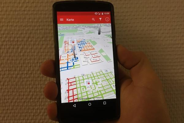 Die 3D-karte der Interschutz-App erleichtert die Orientierung auf dem Messegelände. Foto: Klöpper