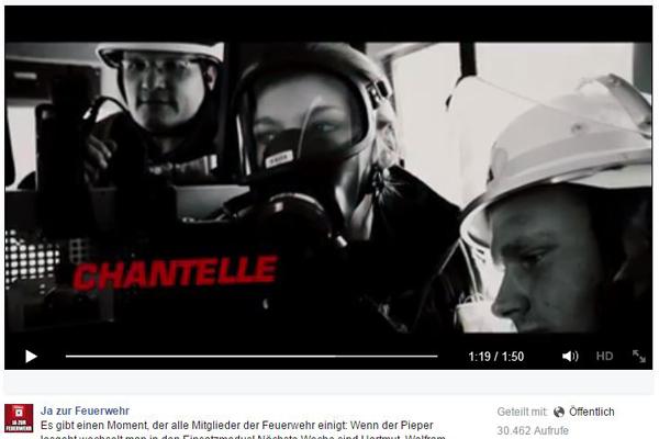 """Szene aus dem Image-Film der Kampagne """"Ja zur Feuerwehr"""". Foto: Screenshot Facebook"""