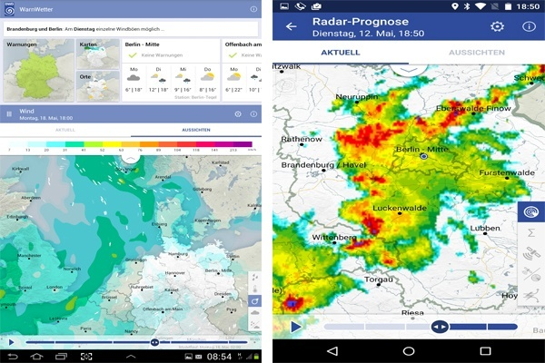 Screenshots aus der Unwetter-App des Deutschen Wetterdienstes. Screenshot: DWD