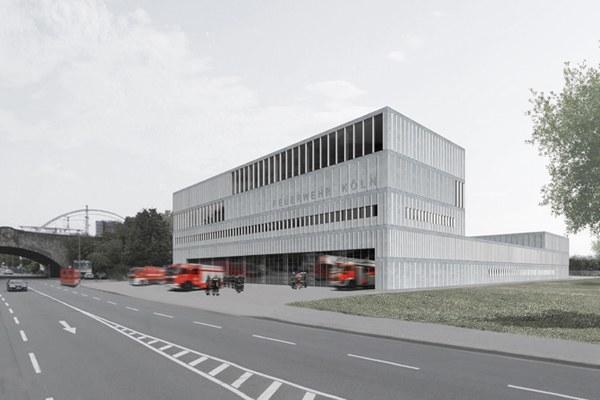 So soll der Neubau des Feuerwehrzentrums Köln Kalk nach der Fertigstellung aussehen. Grafik: Knoche Architekten