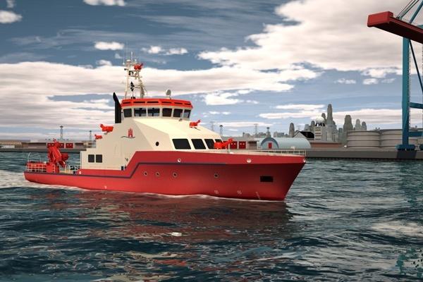 Die Computergrafik zeigt das neue Löschboot der Feuerwehr Hamburg. Foto: Hamburg Port Authority