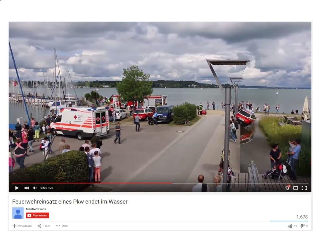 Das Ende einer eiligen Einsatzfahrt. Screenshot: YouTube