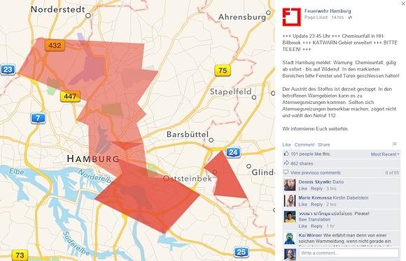 Die Feuerwehr Hamburg veröffentlichte am Donnerstag kurz vor Mitternacht eine erweiterte Warnung an die Bevölkerung. Screenshot: Facebook