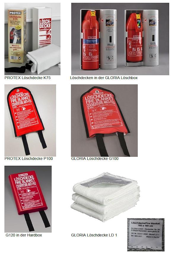 Diese Löschdecken der Marken Gloria und Protex werden vom Hersteller zurückgerufen. Foto: Gloria