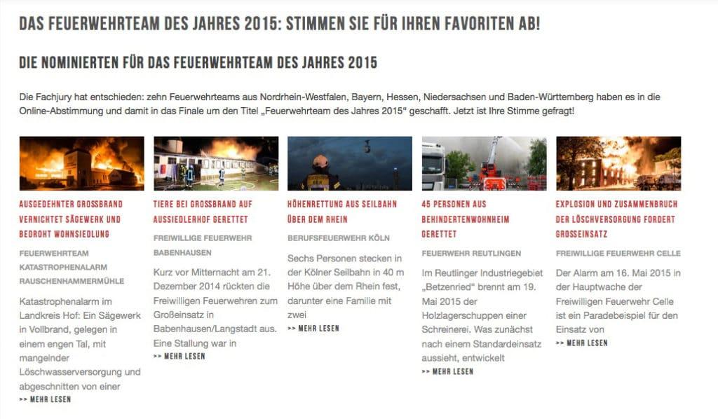 Auf feuerwehrwelt.de werden die Nominierten vorgestellt und jeder kann für seinen Favoriten abstimmen. Foto: Magirus