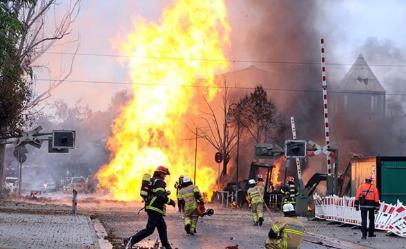Gasfackel über Ludwigshafen. Foto: Feuerwehr