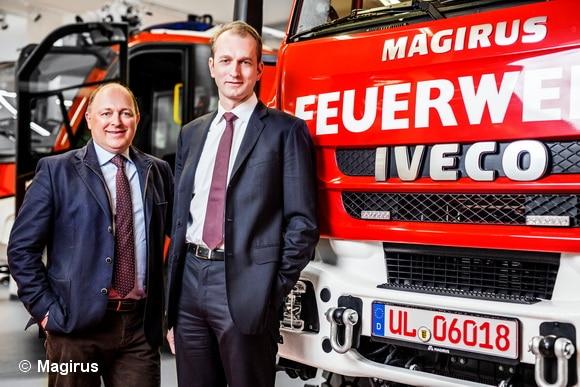 Marc Diening (rechts) übernimmt mit sofortiger Wirkung die Geschäftsführung von Magirus. Links neben ihm Andreas Klauser, der die Geschäfte übergangsweise geführt hatte. Foto: Magirus