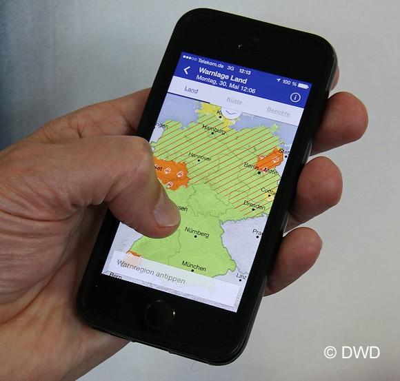 Unwetter-App des Deutschen Wetterdienstes. Foto: DWD