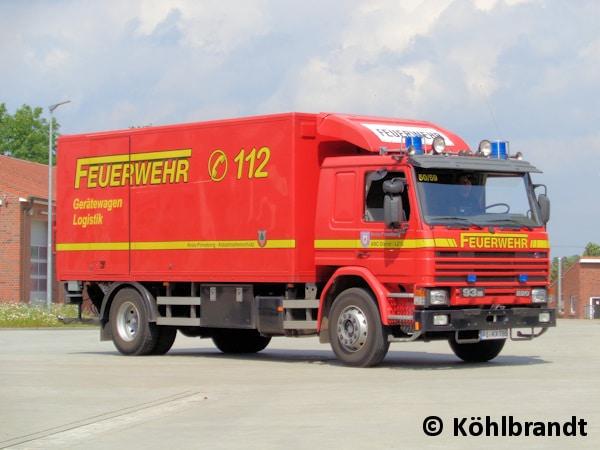 Dieser Scania 93M 220 dient an der Kreisfeuerwehrzentrale Pinneberg in Tornesch als Gerätewagen Logistik und Nachschub beim Löschzug-Gefahrgut. Foto: Köhlbrandt