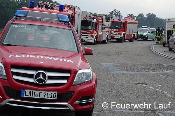 Einsatzfahrzeuge im Bereitstellungsraum. Foto: Feuerwehr Lauf