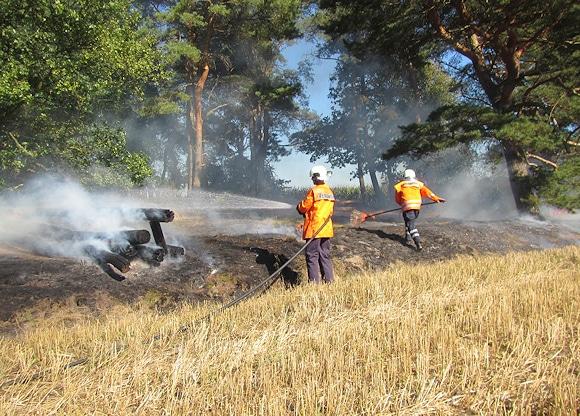 Auch Schnellangriffschlauch und Feuerpatschen kamen bei diesem Flächenbrand in Völkersen zum Einsatz. Foto: Feuerwehr