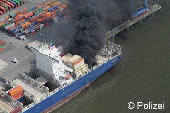 Luftaufnahme der Brandstelle. Foto: Polizei