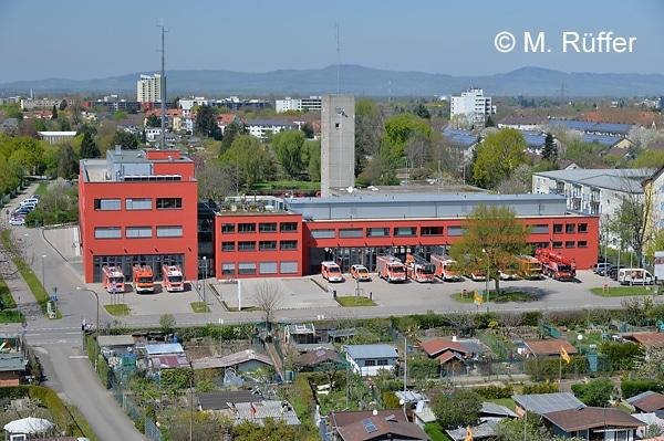 Die Freiburger Feuerwache aus der Vogelperspektive. Foto: Michael Rüffer