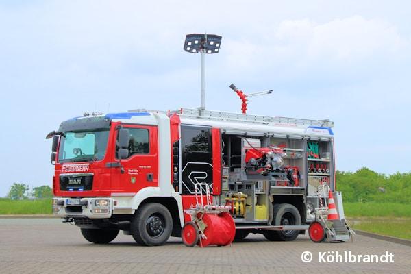 Dieses Löschgruppenfahrzeug (LF) 20 auf MAN TGM 13.290 4x4 lieferte Rosenbauer an die FF Klütz. Das 7.750 Millimeter lange Fahrzeug hat eine zulässige Gesamtmasse von 15.000 Kilogramm. Foto: Köhlbrandt