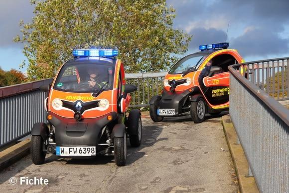 Zwei Renault Twizy testete die Feuerwehr Wuppertal. Vor allem die Wendigkeit der Fahrzeuge begeisterte. Foto: Fichte
