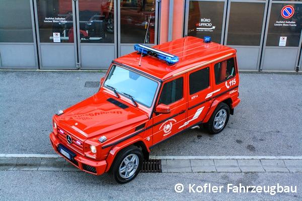 Auf einem Mercedes G 350 d basiert das neue Mannschaftstransportfahrzeug der FF Mühlwald. Kofler Fahrzeugbau kümmerte sich um den Innenausbau des Geländewagens. Foto: Kofler