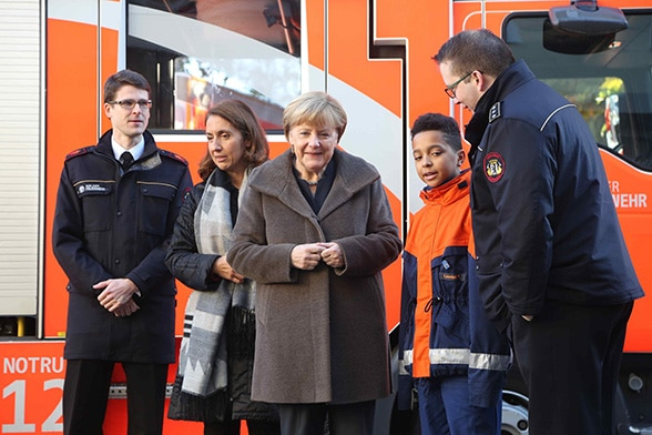 Leonel und Frau Merkel Foto: DJF/Thumser