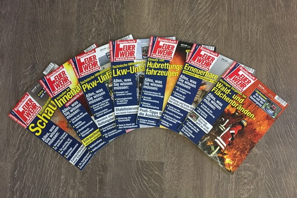 Diese sieben Ausbildungshefte des Feuerwehr-Magazins sind bisher erschienen. In 2017 kommt dann Atemschutz dazu. Foto: Hegemann