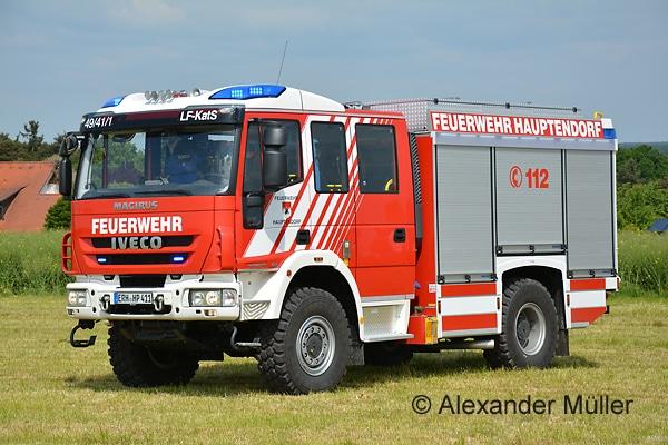 Das Institut der Feuerwehr Nordrhein-Westfalen hat mit Magirus einen Rahmenvertrag über bis zu 109 LF-KatS abgeschlossen, im Unterschied zum abgebildeten Fahrzeug allerdings mit MAN-Chassis und Team Cab Mannschaftskabine. Symbolfoto: Alexander Müller