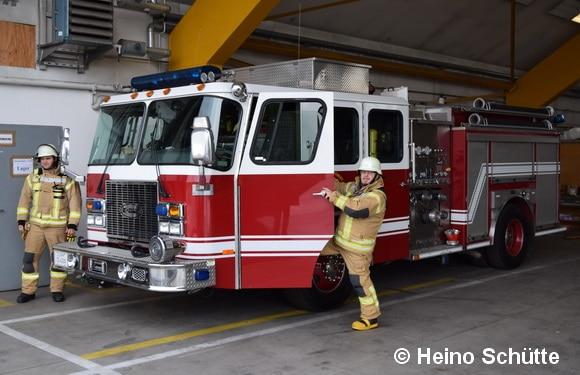 Ein typisches amerikanisches Engine (Löschfahrzeug) besitzt die Feuerwehr der US Garnison Stuttgart auch noch. Foto: Heino Schütte