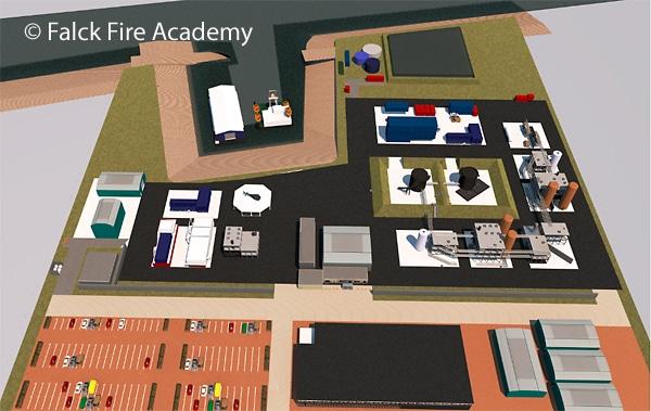 Erster Entwurf für den Neubau der Falck Fire Academy. Grafik: Falck Fire Academy