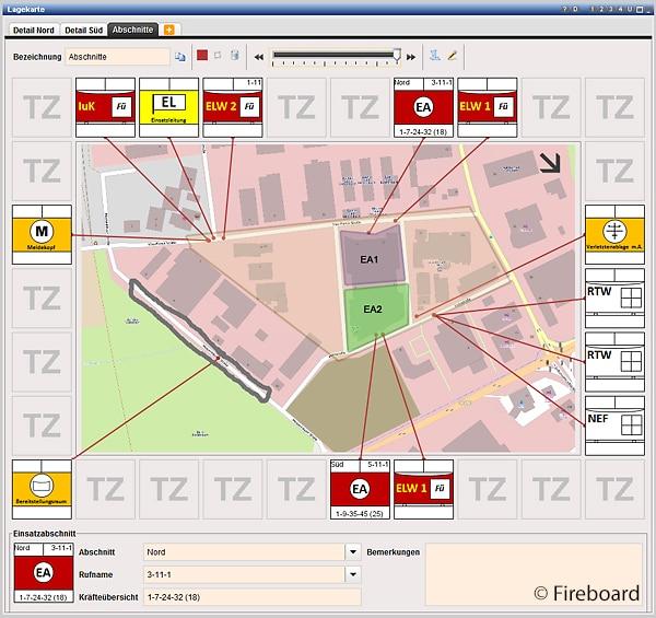 Digitale Lagekarte mit rundherum angeordneten taktischen Symbolen.