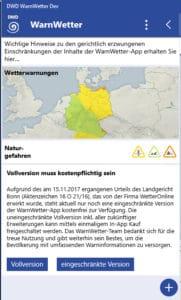 Künftig in der Vollversion kostenpflichtig: WarnWetter-App des Deutschen Wetterdienstes. Foto: DWD