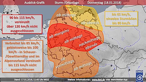 Wetterkarte von Sturm Friederike