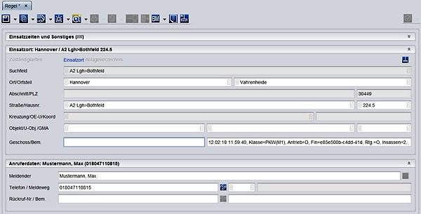 Datenübernahme aus dem Notrufsystem eCall: Einsatzannahmemaske des Einsatzleitrechners in der Regionsleitstelle Hannover. Foto: Feuerwehr Hannover