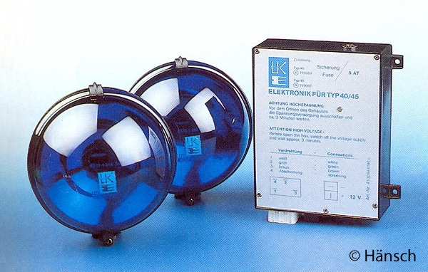 Gehörten zu den ersten Frontblitzern auf dem Markt: Typ 45 von Hänsch (1986). Foto: Hänsch