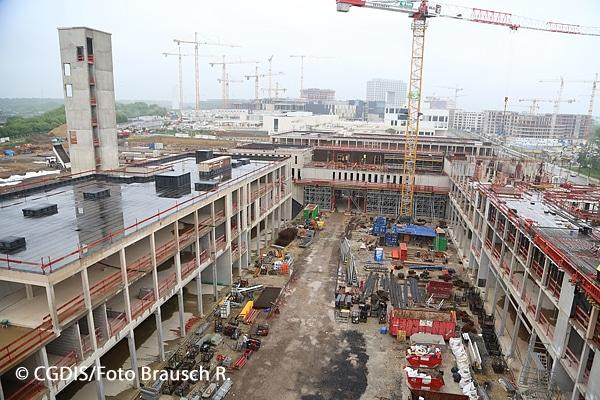 Blick auf die Baustelle des CNIS im Mai 2018.