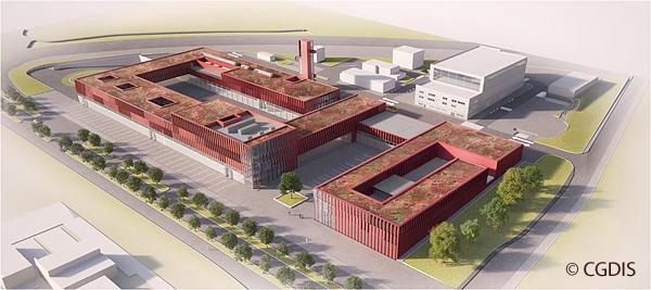 Entwurf des Nationalen Brandschutz- und Rettungszentrums CNIS in Luxemburg-Stadt.
