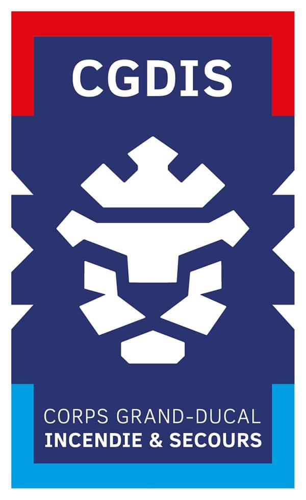In den Landesfarben: Ein stilisierter Löwenkopf mit Krone ziert das Logo des CGDIS. Es wurde vorab vom Großherzog persönlich abgesegnet.