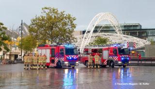 Brandweer Rotterdam-Rijnmond Wache Bosland mit Tankautospuit (Löschfahrzeug) und Autoladder (Drehleiter)